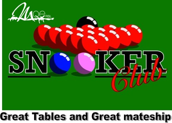snooker club available 7 days a week at Moe RSL