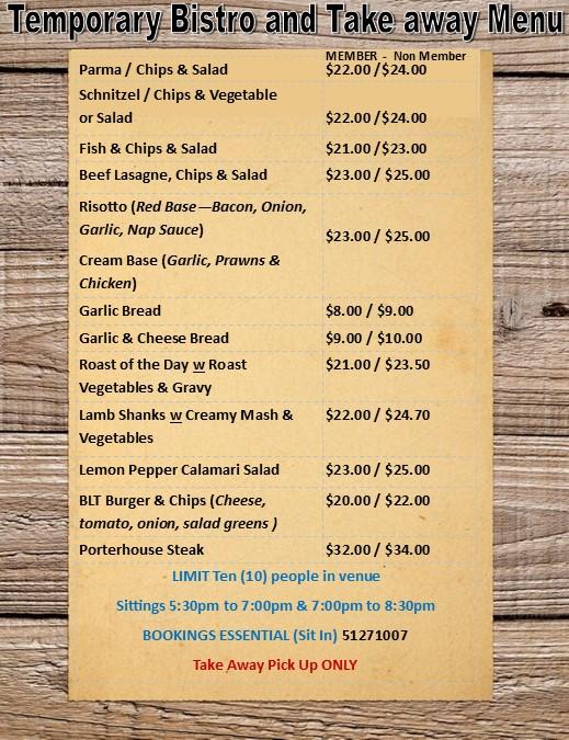 Temporary bistro & takeaway menu